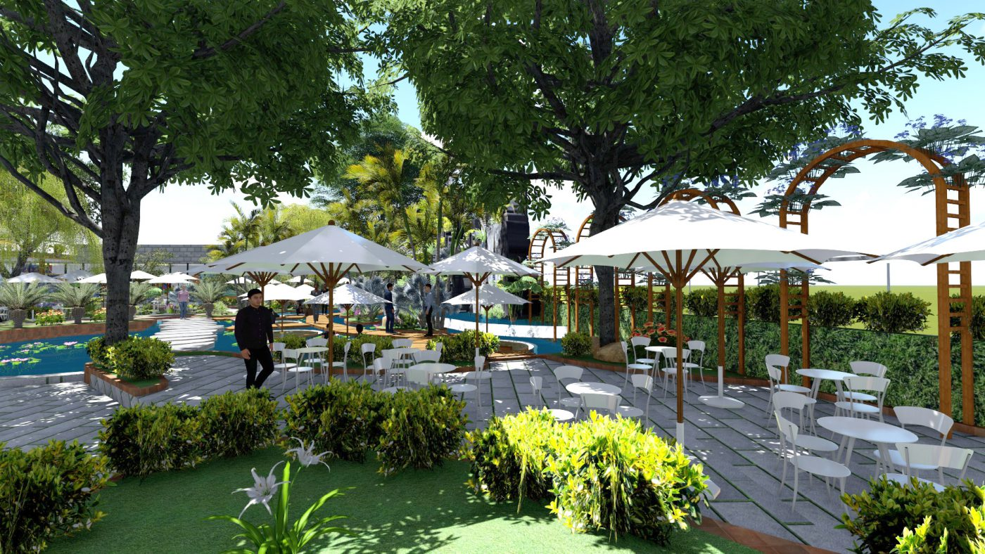 Thiết kế quán cafe sân vườn nhỏ